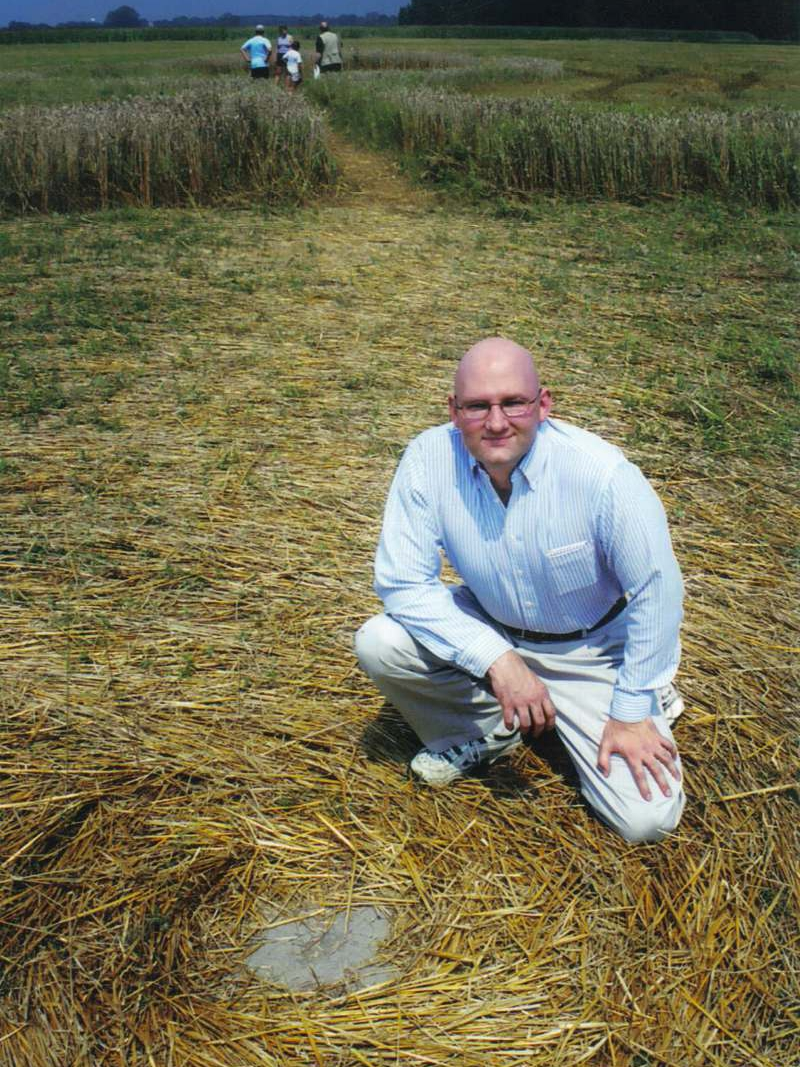 Checking out crop circle in rural Ontario, Canada.