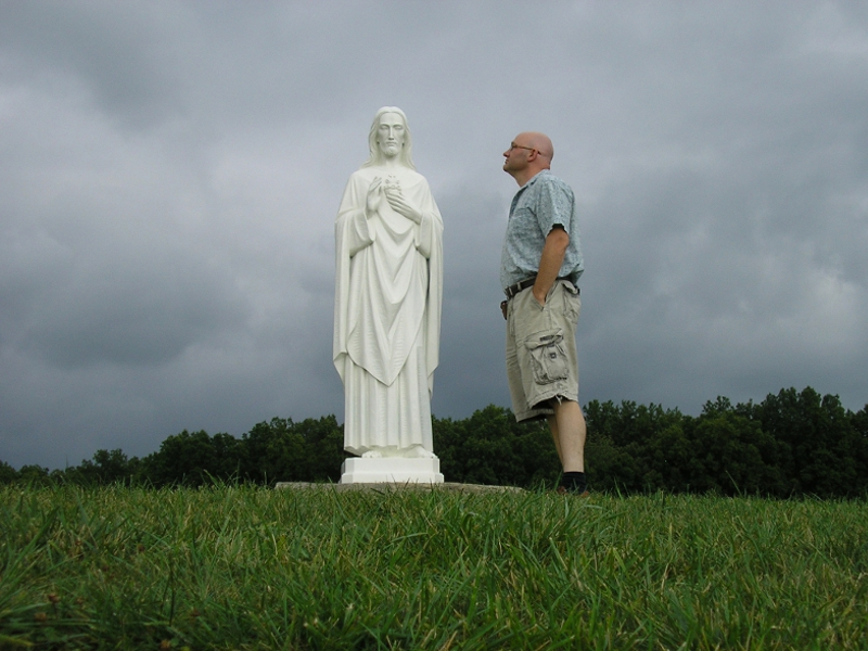 Investigating a miracle statue of Jesus for the Miracles Detectives TV show, 2010.