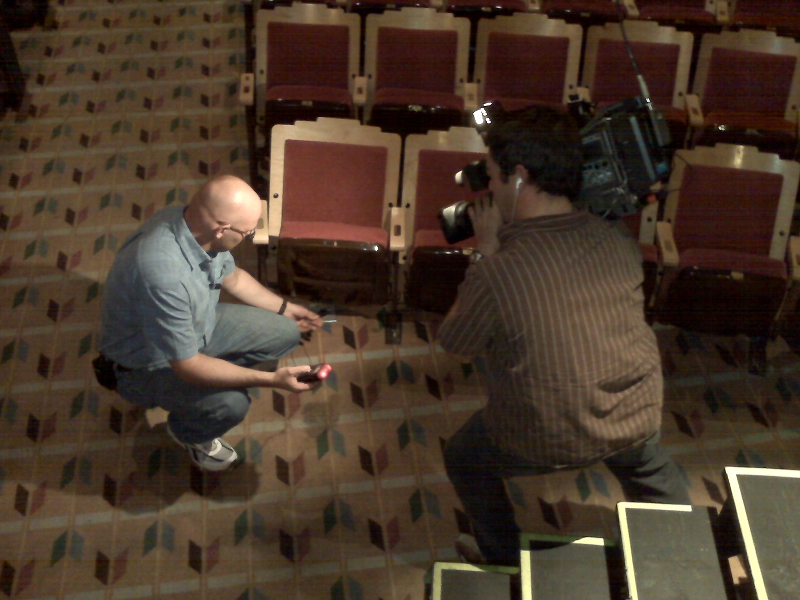 Examining ghostly phenomenon at New Mexico's haunted KiMo theater for KRQE-TV.