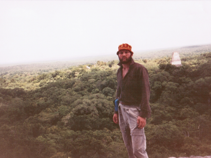 Overlooking the Mayan pyramids in Tikal, Guatemala.