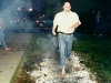 Walking on hot coals during a firewalk at the Center for Inquiry in Buffalo, New York.