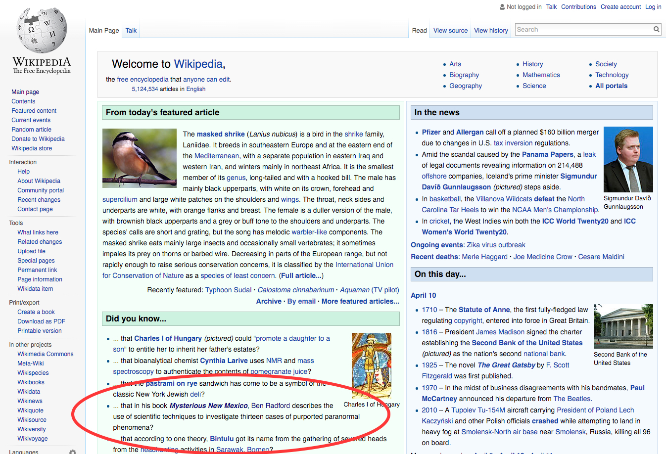 MNM on front of Wikipedia