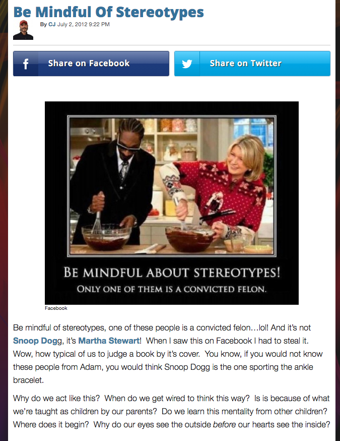 mindful of stereotypes!